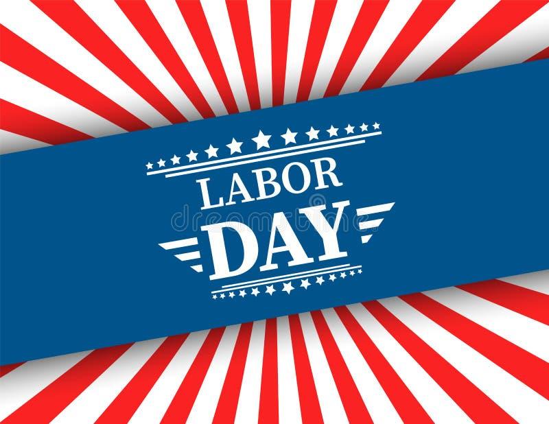 La bandiera americana d'ondeggiamento con la festa del lavoro di tipografia, il 7 settembre, ha unito lo stato dell'America, prog illustrazione di stock