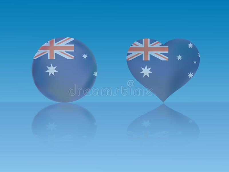 La bandiera australiana in palla lucida ed il cuore con la riflessione su fondo blu vector l'illustrazione illustrazione di stock