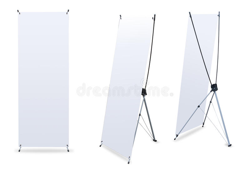 La bandiera in bianco X-Si leva in piedi fotografia stock