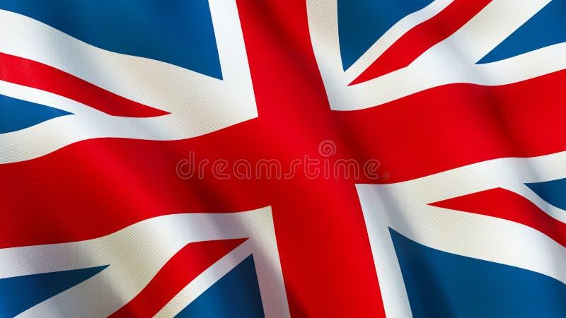La bandiera britannica di Union Jack, ondeggiante nel vento illustrazione vettoriale