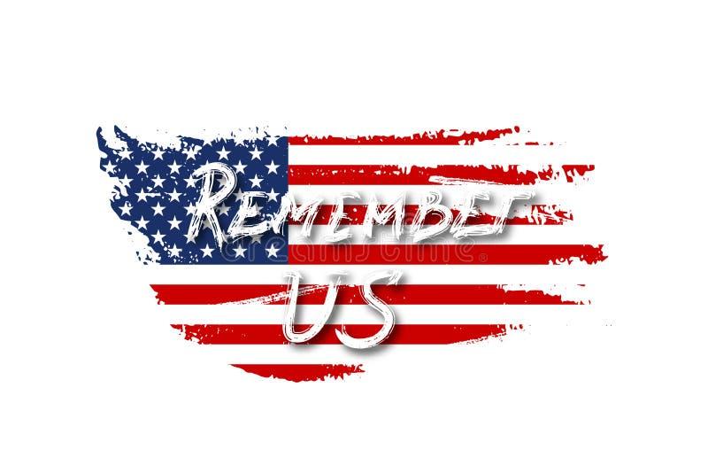 La bandiera d'annata di U.S.A. con ricorda il testo degli Stati Uniti Bandiera americana di vettore su struttura di lerciume Prog illustrazione vettoriale