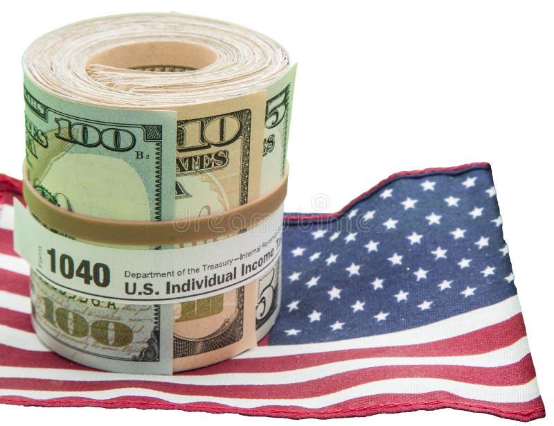 La bandiera degli Stati Uniti della forma del rotolo 1040 di valuta di carta ha isolato il bianco fotografie stock