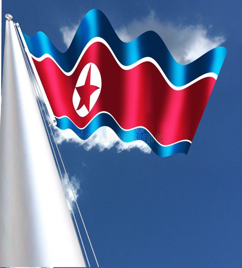 La bandiera del ` democratico s Repubblica Coreana della gente, anche conosciuta come il Ramhongsaek Konghwagukgi illustrazione vettoriale