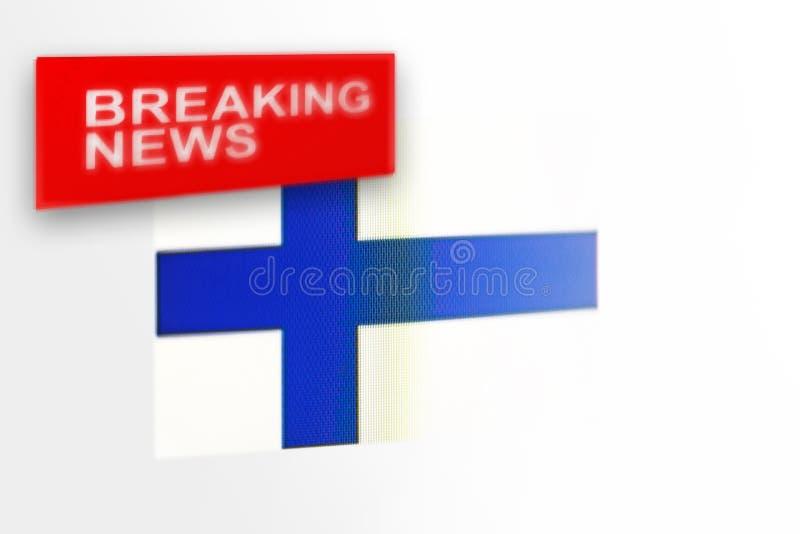 La bandiera del paese della Finlandia, di ultime notizie e le notizie dell'iscrizione immagini stock libere da diritti