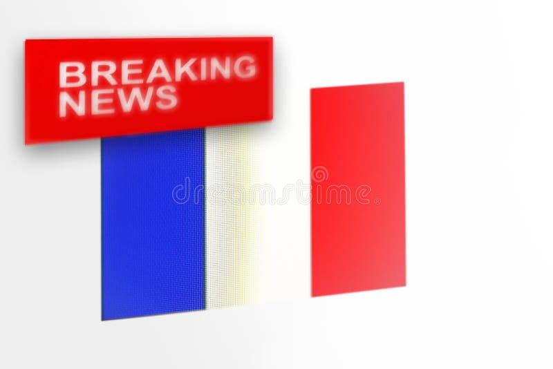 La bandiera del paese della Francia, di ultime notizie e le notizie dell'iscrizione immagini stock