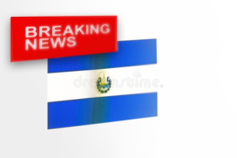 La bandiera del paese di El Salvador, di ultime notizie e le notizie dell'iscrizione fotografie stock libere da diritti
