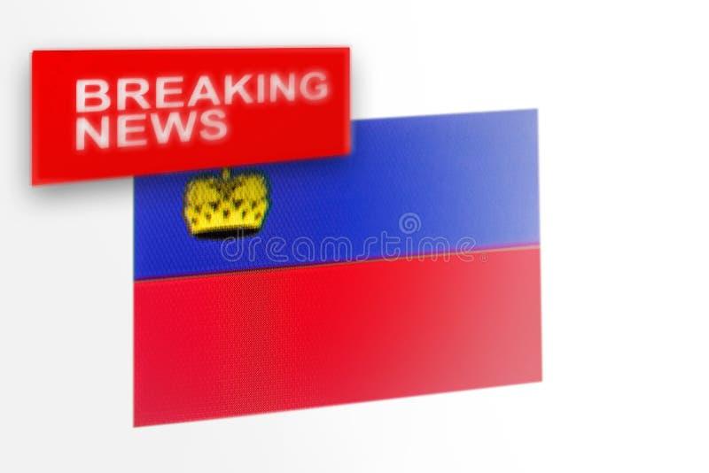La bandiera del paese del Liechtenstein, di ultime notizie e le notizie dell'iscrizione fotografia stock