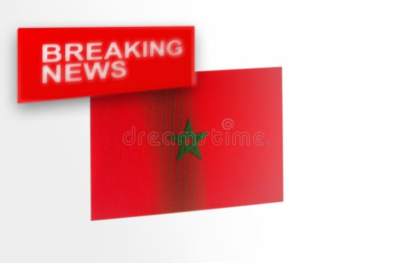La bandiera del paese del Marocco, di ultime notizie e le notizie dell'iscrizione fotografia stock