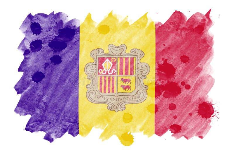 La bandiera dell'Andorra è descritta nello stile liquido dell'acquerello isolata su fondo bianco illustrazione vettoriale