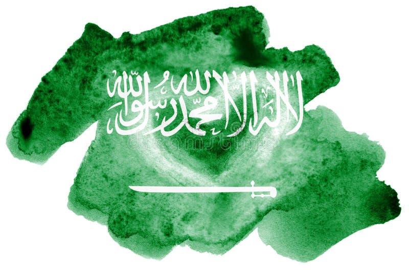La bandiera dell'Arabia Saudita è descritta nello stile liquido dell'acquerello isolata su fondo bianco fotografia stock