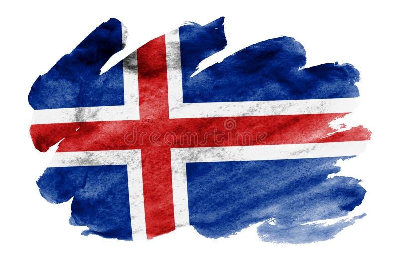 La bandiera dell'Islanda è descritta nello stile liquido dell'acquerello isolata su fondo bianco illustrazione di stock