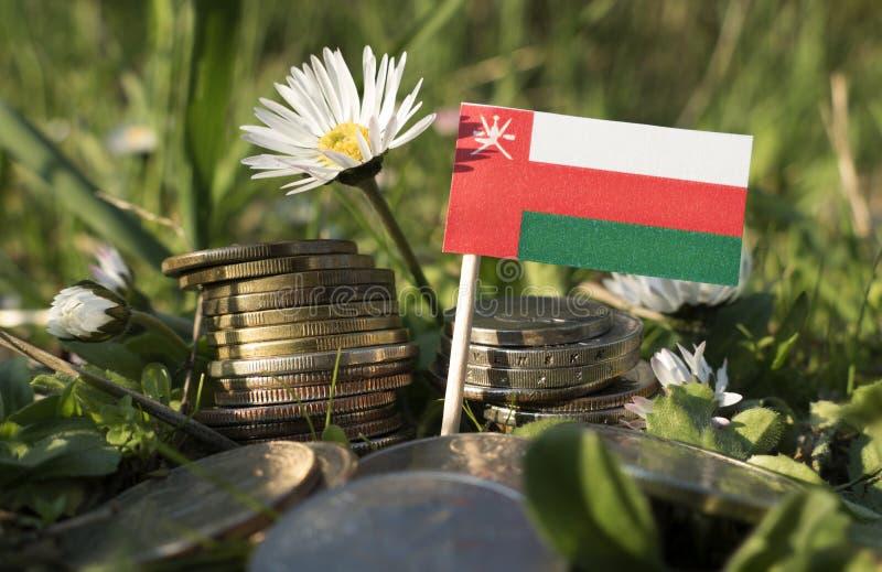 La bandiera dell'Oman con la pila di soldi conia con erba fotografie stock