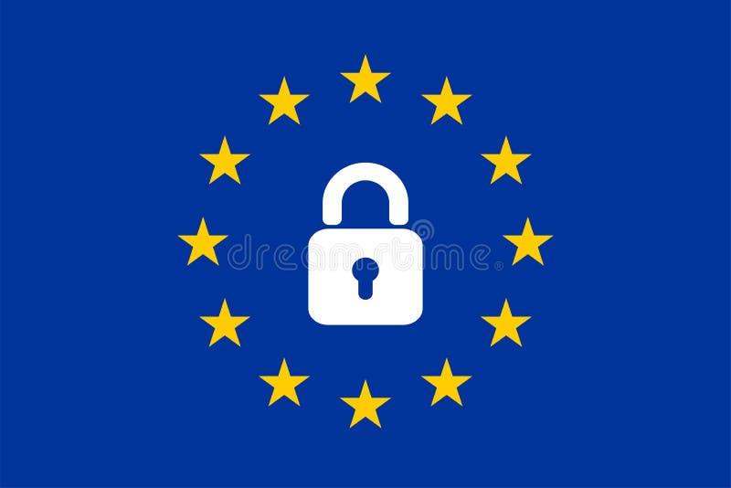 La bandiera dell'UE con un'icona del lucchetto illustrazione vettoriale