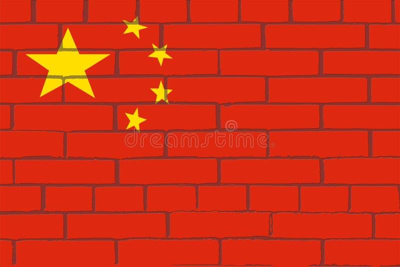 La bandiera della Cina sulla parete dei mattoni rossi illustrazione di stock
