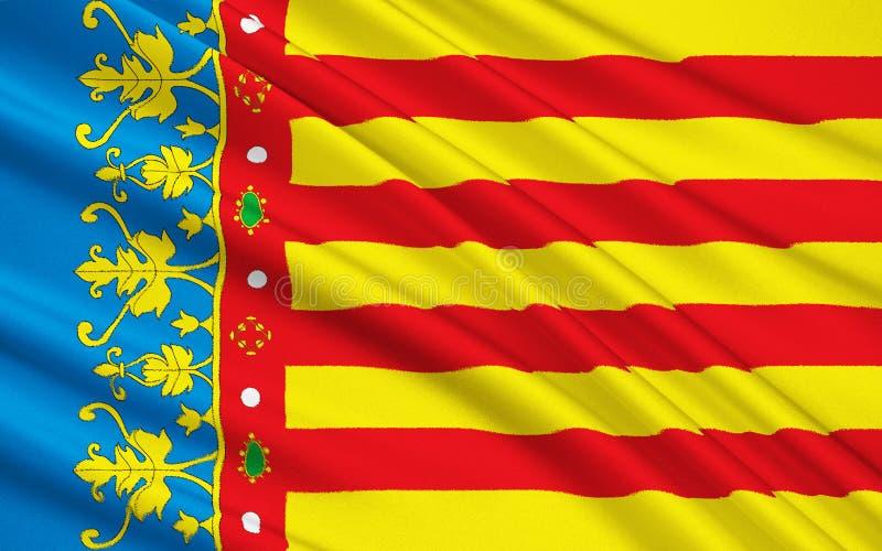 La bandiera della Comunità valenzana, Spagna illustrazione di stock