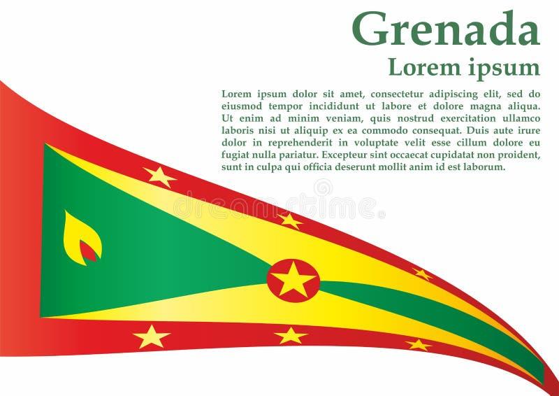 La bandiera della Granada, Granada è un paese nelle Antille, isola della spezia Modello per progettazione del premio, un document royalty illustrazione gratis