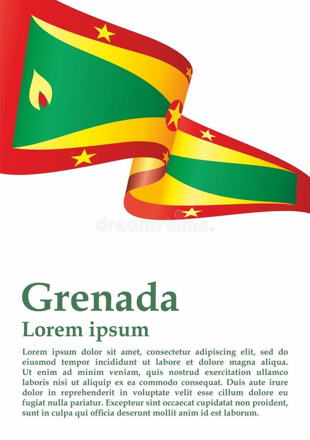 La bandiera della Granada, Granada è un paese nelle Antille, isola della spezia Modello per progettazione del premio, un document illustrazione vettoriale