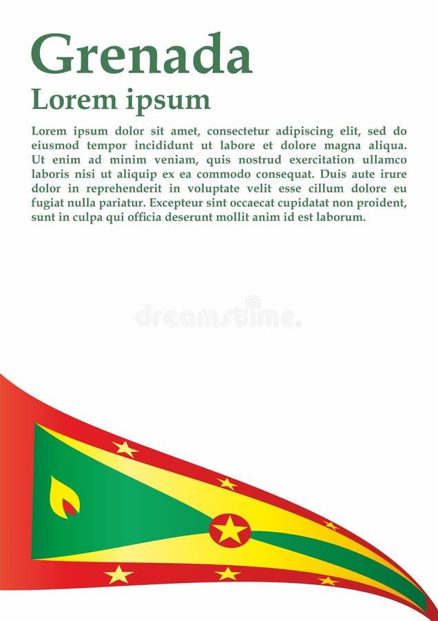 La bandiera della Granada, Granada è un paese nelle Antille, isola della spezia Modello per progettazione del premio, un document illustrazione di stock