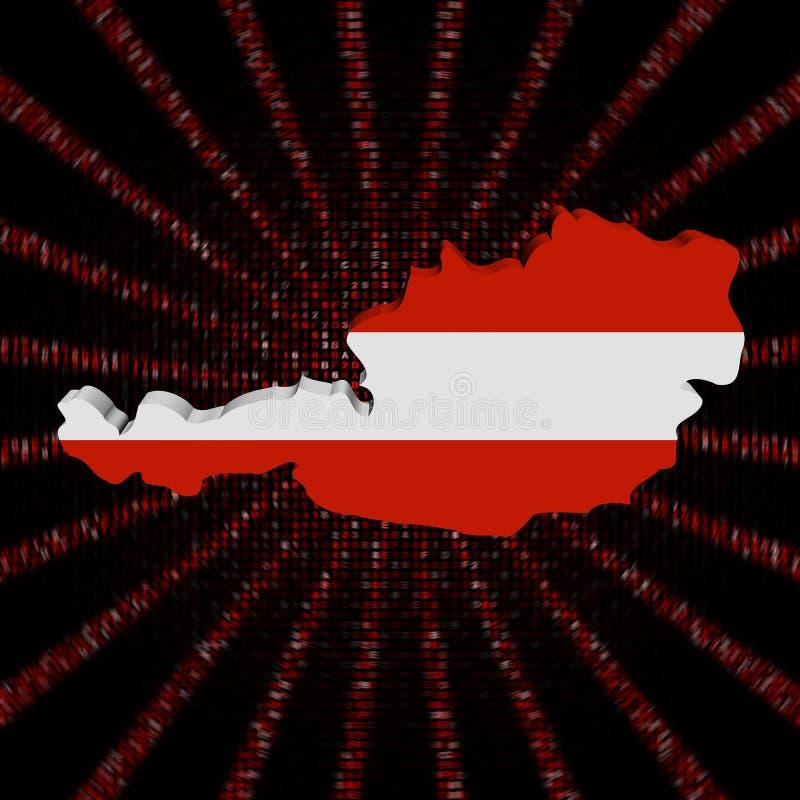 La bandiera della mappa dell'Austria sul codice rosso della sfortuna ha scoppiato l'illustrazione illustrazione di stock