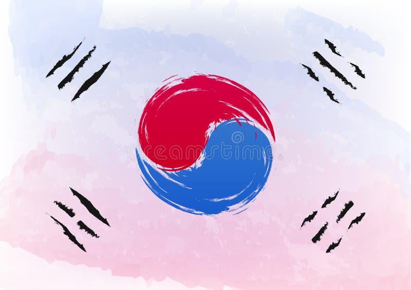 La bandiera della spazzola dell'acquerello della Corea del Sud la Repubblica Coreana è ufficialmente uno stato sovrano in Asia Or illustrazione vettoriale