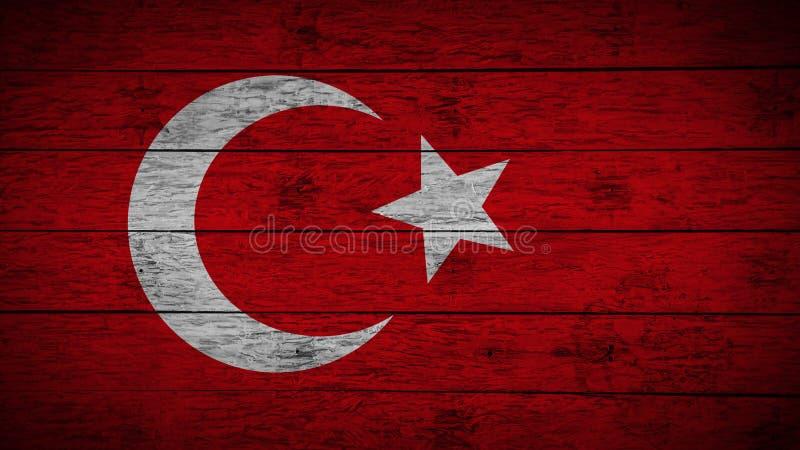 La bandiera della Turchia ha dipinto sui bordi di legno anziani Bandiera di legno del tacchino Fondo astratto della bandiera band illustrazione di stock