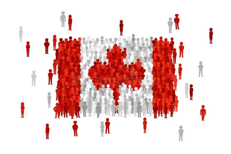 La bandiera dello stato del Canada di vettore si è formata dalla folla della gente del fumetto illustrazione vettoriale