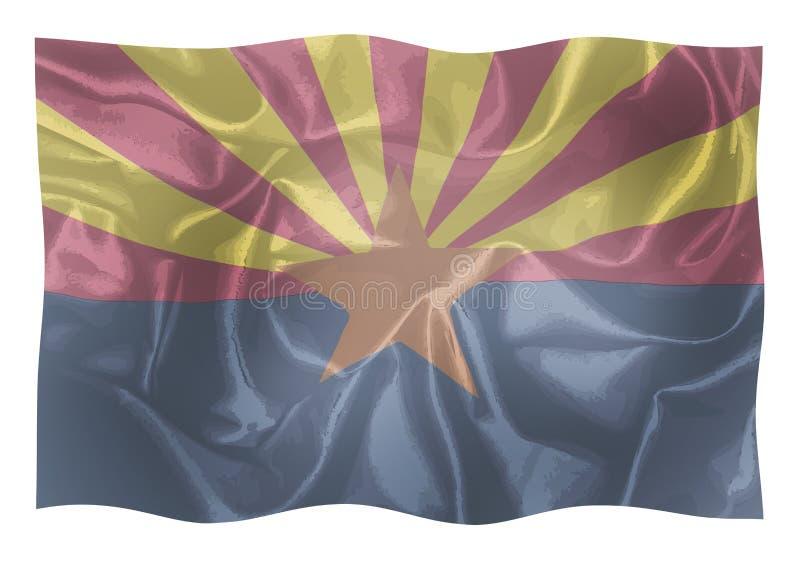 La bandiera dello stato dello stato dell'Arizona illustrazione di stock