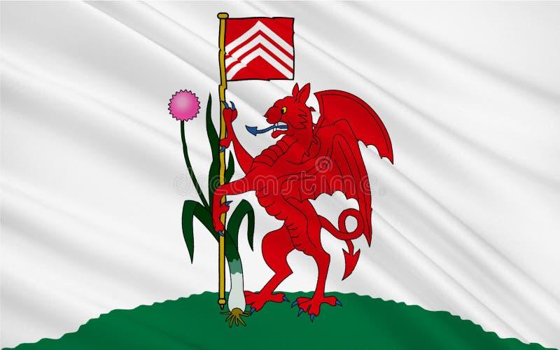La bandiera di Cardiff è la città capitale e più grande in Galles del royalty illustrazione gratis