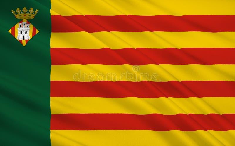 La bandiera di Castellon de la Plana è la capitale del provinc illustrazione vettoriale
