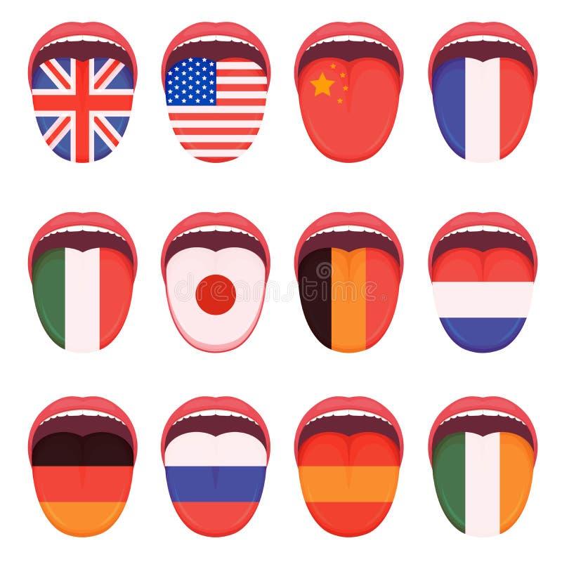 La bandiera di lingua sulla lingua umana, multilingue parla lo studio illustrazione di stock