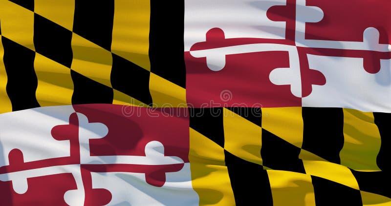 La bandiera di Maryland, bandiera del raso, tridimensionale rende, qualit? 4K illustrazione vettoriale