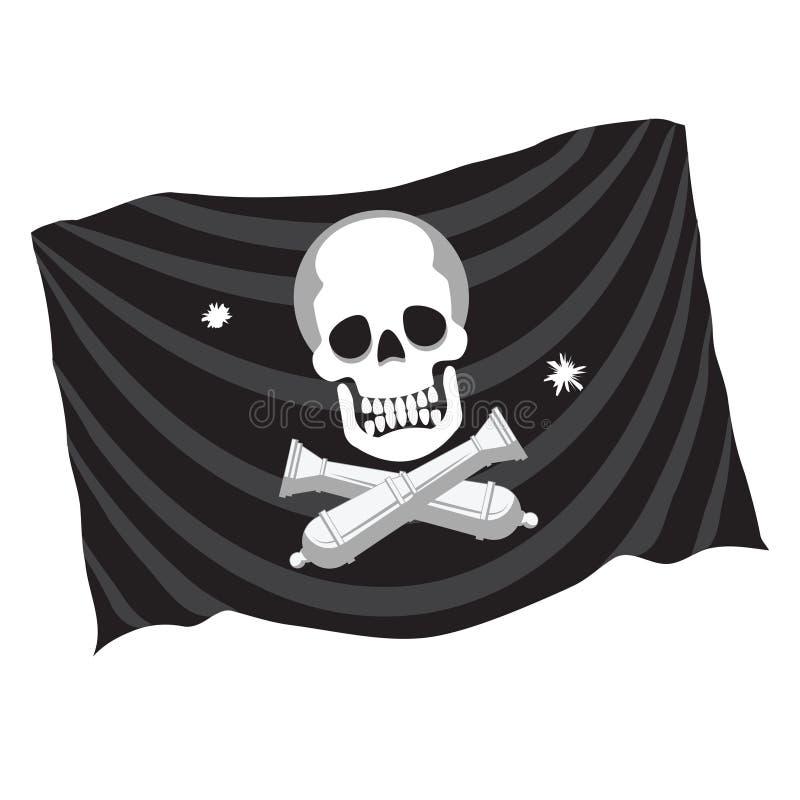 La bandiera di pirata decorativa dell'elemento di progettazione con il cranio e due hanno attraversato le pistole del ghisa Icona illustrazione vettoriale