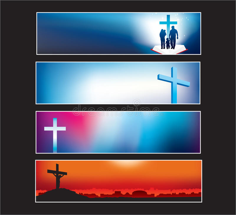 La bandiera di Web site ha impostato per il cristiano moderno illustrazione di stock