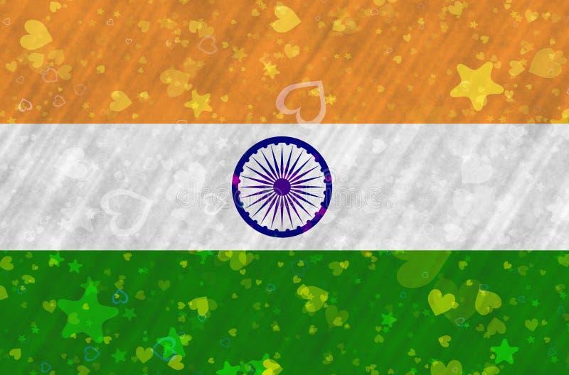 La bandiera indiana con le stelle ed i cuori ha sparso intorno illustrazione di stock