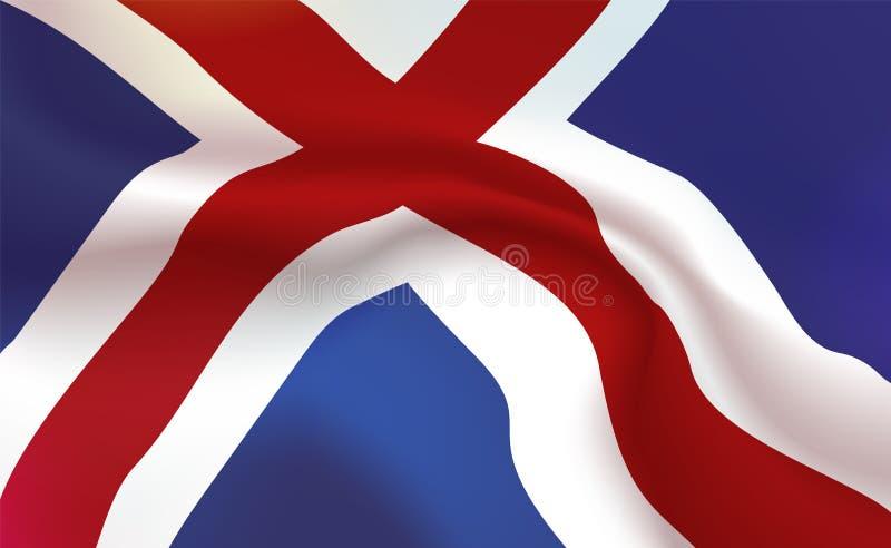 La bandiera islandese del fondo atlantico, piega Insegna Tricolour dell'Islanda dell'isola Stendardo con delle bande la fine su,  illustrazione vettoriale