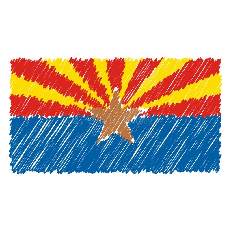 La bandiera nazionale disegnata a mano dell'Arizona ha isolato su un fondo bianco Illustrazione di stile di schizzo di vettore illustrazione vettoriale