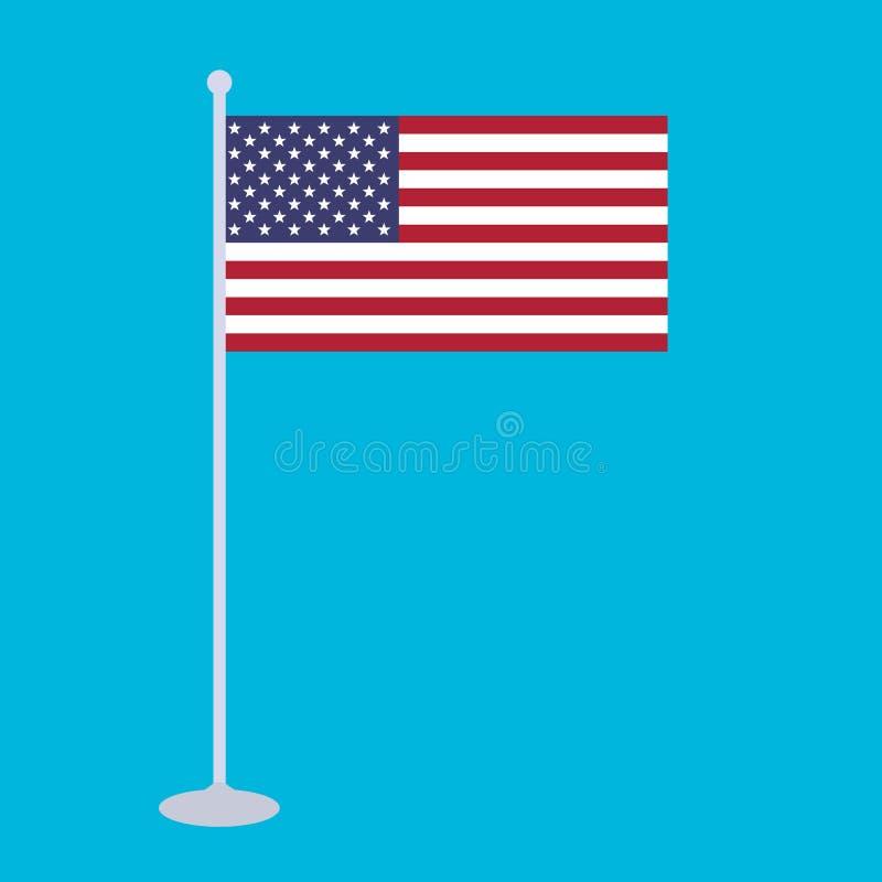 La bandiera nazionale e l'albero per bandiera dell'illustrazione di vettore degli Stati Uniti d'America royalty illustrazione gratis