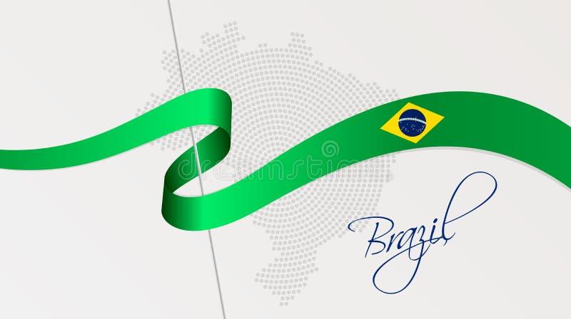 La bandiera nazionale e la parte radiale ondulate hanno punteggiato la mappa di semitono del Brasile illustrazione di stock
