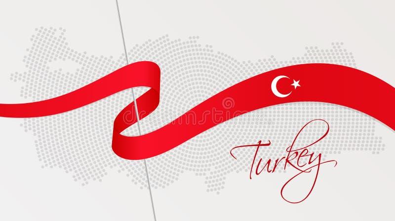 La bandiera nazionale e la parte radiale ondulate hanno punteggiato la mappa di semitono della Turchia royalty illustrazione gratis