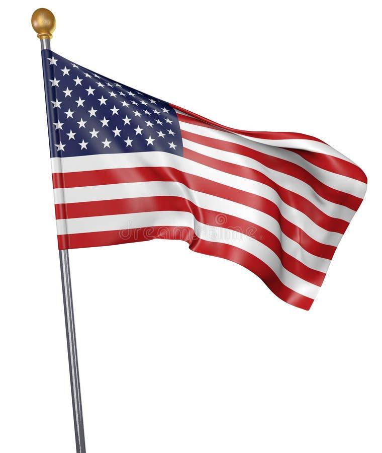 La bandiera nazionale per paese degli Stati Uniti ha isolato su fondo bianco illustrazione vettoriale