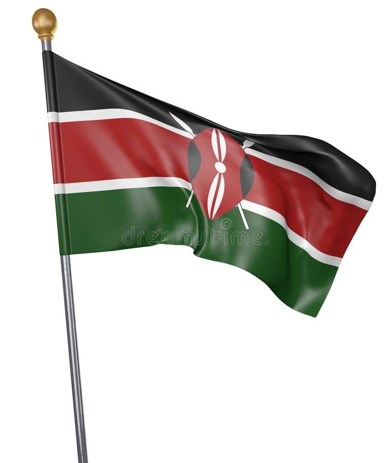 La bandiera nazionale per paese del Kenya ha isolato su fondo bianco illustrazione vettoriale
