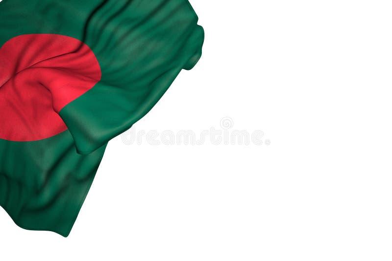La bandiera piacevole del Bangladesh con i grandi popolare si trova nell'angolo sinistro superiore isolato su bianco- tutta l'ill royalty illustrazione gratis