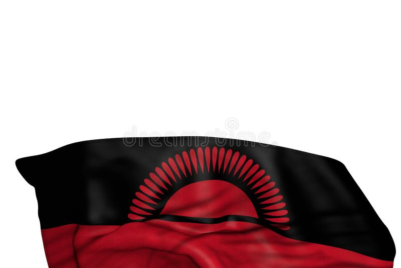 La bandiera piacevole del Malawi con i grandi popolare si trova nel fondo isolato su bianco- tutta l'illustrazione della bandiera illustrazione di stock