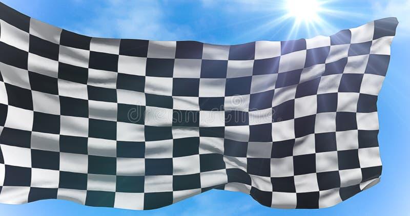 La bandiera a quadretti, il fondo della corsa dell'estremità, concorrenza di Formula 1 sotto il sole rays la luce royalty illustrazione gratis