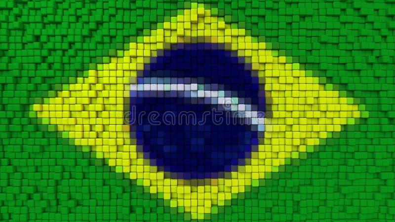 La bandiera stilizzata del mosaico del Brasile ha fatto dei pixel, la rappresentazione 3D royalty illustrazione gratis