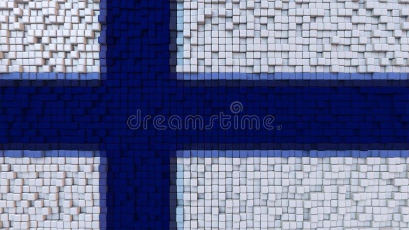 La bandiera stilizzata del mosaico della Finlandia ha fatto dei pixel, la rappresentazione 3D illustrazione di stock