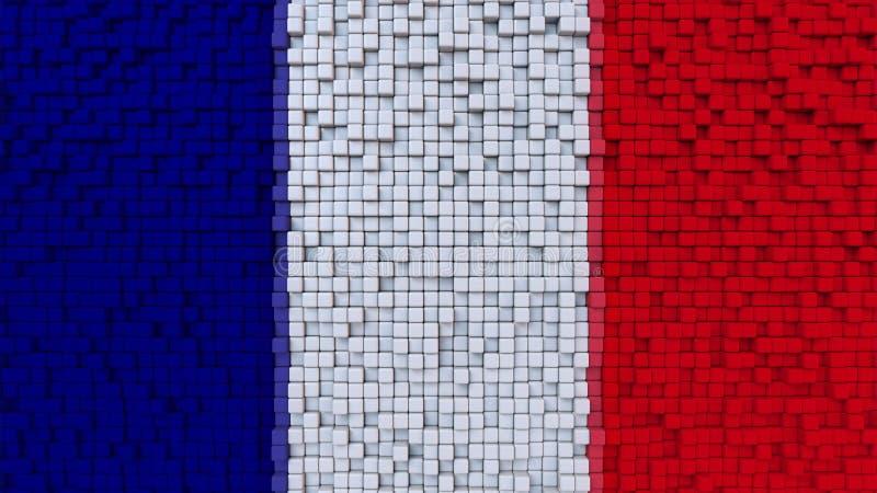 La bandiera stilizzata del mosaico della Francia ha fatto dei pixel, la rappresentazione 3D royalty illustrazione gratis