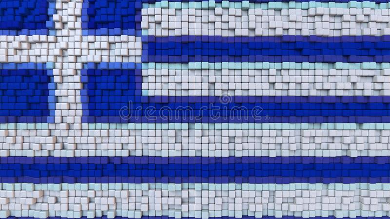 La bandiera stilizzata del mosaico della Grecia ha fatto dei pixel, la rappresentazione 3D illustrazione di stock