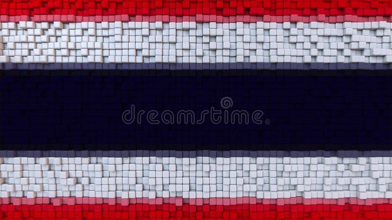 La bandiera stilizzata del mosaico della Tailandia ha fatto dei pixel, la rappresentazione 3D illustrazione di stock