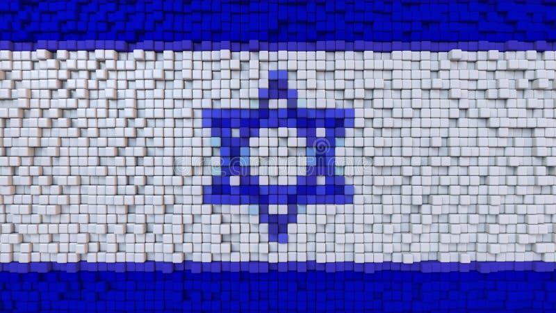 La bandiera stilizzata del mosaico di Israele ha fatto dei pixel, la rappresentazione 3D illustrazione vettoriale